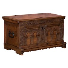 Antique 18th Century Hand Carved German Trunk