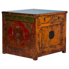Antique Lacquered Chinese Kitchen Island Cabinet With Original Paint