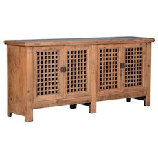 Antique Chinese Pine Sideboard With Lattice Work Doors