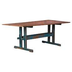 Antique Blue Painted Farm House Trestle Table