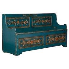 Blue Antique Swedish Storage Bench with Folk Art Paint