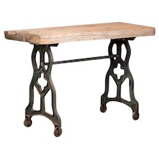 Rustic Antique Console Table With Cast Iron Legs