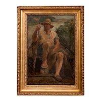 Original Antique Oil Painting Portrait of a Danish Fisherman