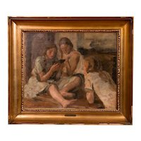 Original Antique Oil Painting of Three Young Girls Reading by Jul Paulsen