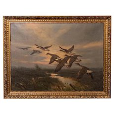 Vintage Original Oil Painting of a Flight of Geese, Knud Edsberg