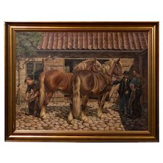 Antique Oil Painting of a Farrier and Draft Horses by Carl Hertz
