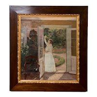 Antique Oil Painting of Smiling Woman in a Garden by Georg Seligmann