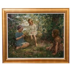 Vintage Oil Painting of 3 Girls Stringing Flowers, Francis Patrick Martin