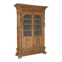 Antique Carved Renaissance Oak Bookcase