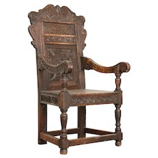 Antique Hand Carved Oak Arm Chair from Norway