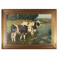 Antique Landscape Oil Painting With Cows by Poul Steffensen