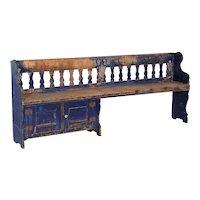Antique Original Blue Painted Pine Bench