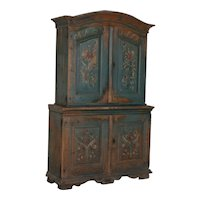 Original Antique Blue Painted Cabinet Cupboard from Sweden