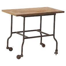 Vintage Industrial Side Table on Wheels