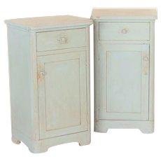 Pair, Antique Original Blue Painted Nightstands