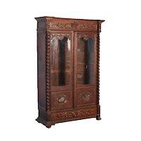 Heavily Carved Antique 19th Century German Oak 2 Door Bookcase