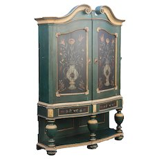 Antique Dramatic Original Green Painted Rococo Cabinet Armoire, Sweden
