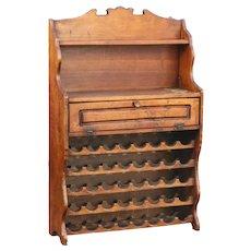 Antique Danish Wine Rack Storage Cabinet
