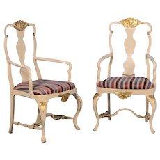 Pair of Swedish Rococo Style Armchairs, circa 1890