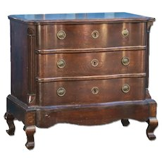 Antique Baroque Oak Small Chest of Drawers Nightstand