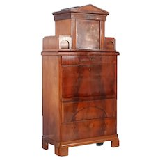 Antique 19th Century Mahogany Danish Drop Front Secretary Desk