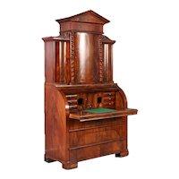 Antique 19th Century Danish Biedermeier Mahogany Cylinder Secretary Desk