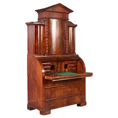 Antique 19th Century Danish Biedermeier Mahogany Cylinder Secretary Desk