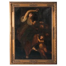 Large Antique Italian School, 'Roman Charity', Oil on Canvas Painting