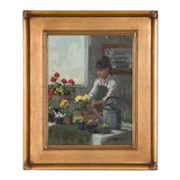 Original Oil on Board Interior Painting by Nancy Chaboun