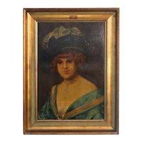 "Original Oil on Canvas Portrait, ""Edith"", muse of famous Danish artist Holger Drachmann"