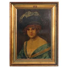 "Original Oil on Canvas Portrait, ""Edith"", muse of famous Danish artist Holger Drachmann"