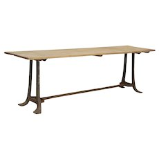 Long Vintage Farm Work Table with Industrial Iron Legs