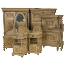 Pair of Armoires, Pair of Nightstands, Pair of Beds & Vanity Antique Suite Set