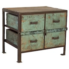 Antique Primitive Industrial Work Table With Original Painted Green Drawers