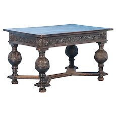 Antique 19th Century Danish Carved Oak Table