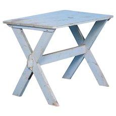 Antique Swedish Blue Trestle Table, circa 1870