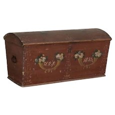 Antique Original Red Painted Swedish Dome Top Trunk Dated 1853