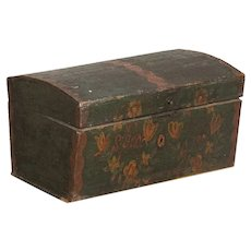 Antique Original Hand Painted Green Small Trunk With Flowers, Dated 1798