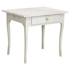 Antique Original White Painted Swedish Side Table Nightstand