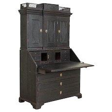 Antique Black Painted Secretary Bureau, Denmark