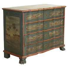 Antique Original Painted Large Chest of Drawers with Country Houses In Lanscape