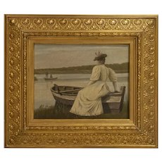 Antique Oil on Canvas Painting of Young Woman in White Dress Sitting On Edge of Boat