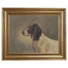 Antique Oil on Canvas Painting of Spaniel Hunting Dog, signed by Carl Hoyrup