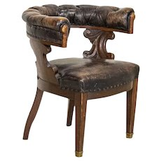 Antique Vintage Leather Arm Chair Office Chair