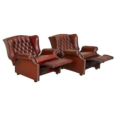 Pair, Vintage Leather Recliner Chairs