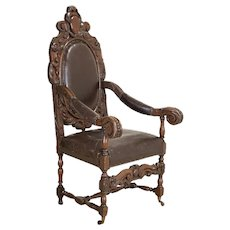 Antique Large Heavily Carved Arm Chair on Castors