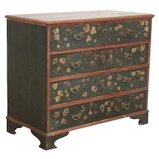Antique Original Hand Painted Chest of Drawers With Flowers