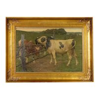Antique Oil on Canvas Painting of Cows In Pasture, Signed by Paul Stellenger