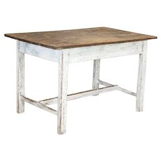 Antique Original White Painted Farm Kitchen Table, Sweden