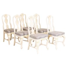 Antique Set of 6 White Painted Dining Chairs from Sweden